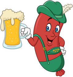 Cartoon sausage in traditional costume with beer vector