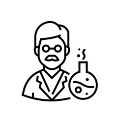 chemistry teacher - line design single isolated vector image