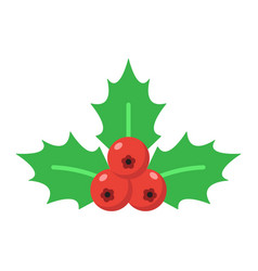 christmas holly berries flat icon new year vector image