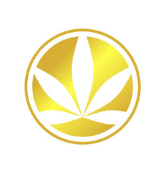 Circle cannabis golden emblem symbol logo design vector