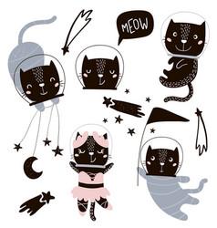 Circus cats astronauts clipart cute vector