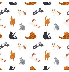 colorful seamless pattern with cats of different vector image