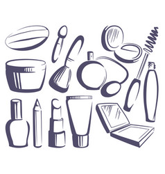 cosmetics sketches vector image