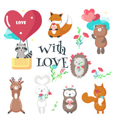 Cute animals in love isolated vector
