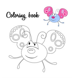 cute butterfly coloring book vector image