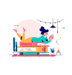 cute lady lying on stack books vector image