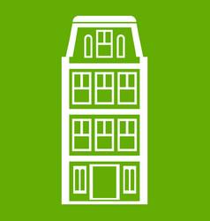 Dutch houses icon green vector
