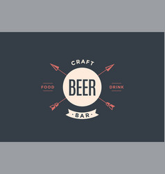 emblem of beer bar with arrows vector image