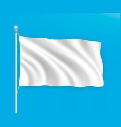 Empty white blank waving flag on blue sky vector