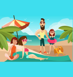 Family on a beach cartoon vector