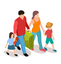 family with two children traveling vector image