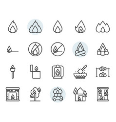 fire related icon and symbol set in outline design vector image