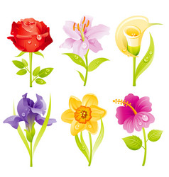 flower icon set cartoon floral blossom spring vector image