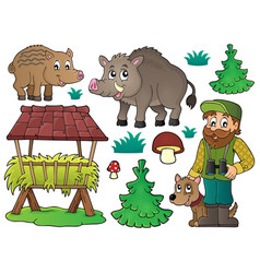 Forester and wildlife theme set 1 vector