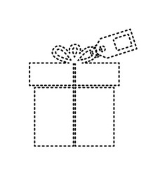gift sign with tag black dashed icon on vector image