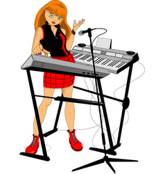 girl pianist vector image