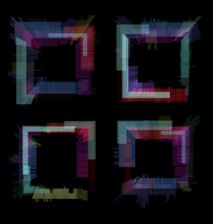 Glitch elements set digital pixel noise color vector