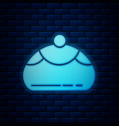 Glowing neon jewish sweet bakery icon isolated on vector