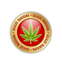 Golden legalize marijuana hemp cannabis sativa or vector