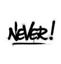 Graffiti never word sprayed in black over white vector