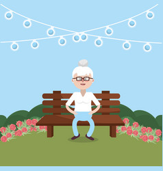 Grandmother on bench vector