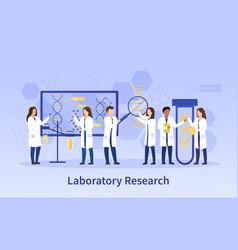 group diverse scientists doing lab research vector image