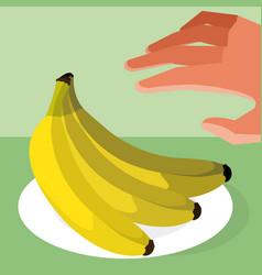 Hand grabbing bananas vector