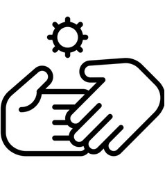 Handshake and virus symbol line style icon vector