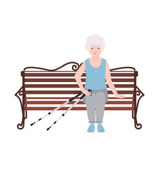 Happy old women dressed in sports clothing sitting vector