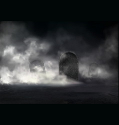 Horror scene on old cemetery realistic vector