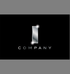 I silver metal letter company design logo vector