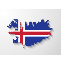 Iceland country map with shadow effect vector image