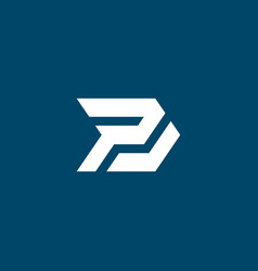 Initial letter p j logo template with arrow icon vector