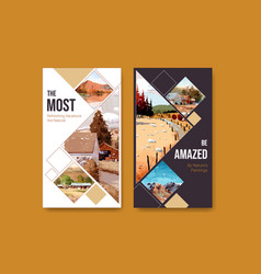 instagram template with landscape in autumn vector image