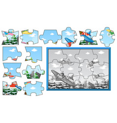 Jigsaw pieces of airplanes in sky vector