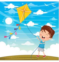 kid playing kite vector image