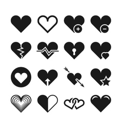 Love heart icons set vector image
