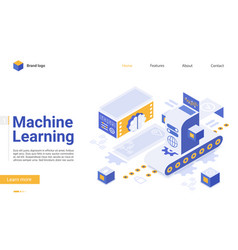 machine learning flat landing page template vector image