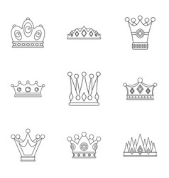 majestic crown icon set outline style vector image