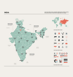 Map india high detailed country vector