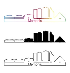 Memphis skyline linear style with rainbow vector
