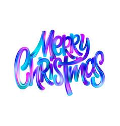 merry christmas paint brush gradient lettering vector image