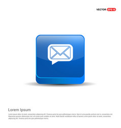 Message icon - 3d blue button vector