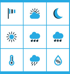 Meteorology colored icons set collection of wind vector