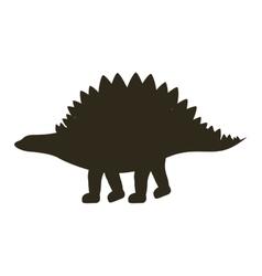monochrome silhouette with dinosaur stegosaurus vector image