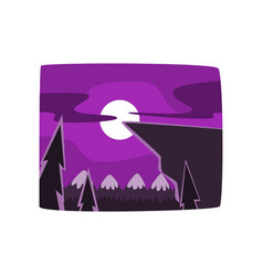 mountains and forest at night time beautiful vector image