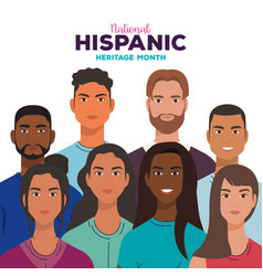 National hispanic heritage month with women and vector
