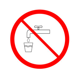 no drinking water icon vector image