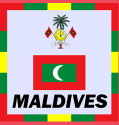 Official ensigns flag and coat of arm of maldives vector