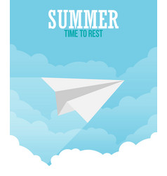 paper plane in the sky flat style vector image